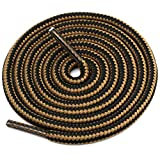 DELELE 2 Pair Round Boot Shoe Laces Shoe Rope Work Hiking Boots Shoelaces Light Brown Black Striped Shoe Lace Boot Shoe Strings-47.24'
