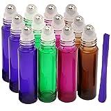 12PCS, 10ml bottiglie di vetro a rullo in acciaio INOX con rullo–Refillable Essential oil roll on bottiglie con coperchio Opener Pry Tool, ideale per aromaterapia, profumi e lip Balms by Jamhoo