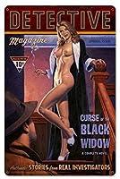 なまけ者雑貨屋 Detective Magazine Black Widow ブリキ 看板 レトロ アメリカン 雑貨 ヴィンテージ風