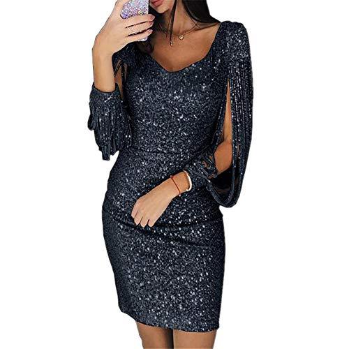 MISSMAO_FASHION2019 Vestito Donna Elegante, Donna Vestito con Paillettes Abito Scollo V Donna Vestito da Invernale Manica Lunga Nero 3XL