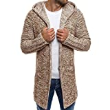 MORCHAN Hooded Solide Knit Trench Hommes Manteau Veste Cardigan Manches Longues Outwear Chemisier(Medium,Kaki)