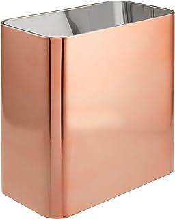 (Rose Gold) - mDesign Metal Wastepaper Bin - Compact Rectangular Bathroom Bin - Rubbish Basket for Home and Office - Rose ...