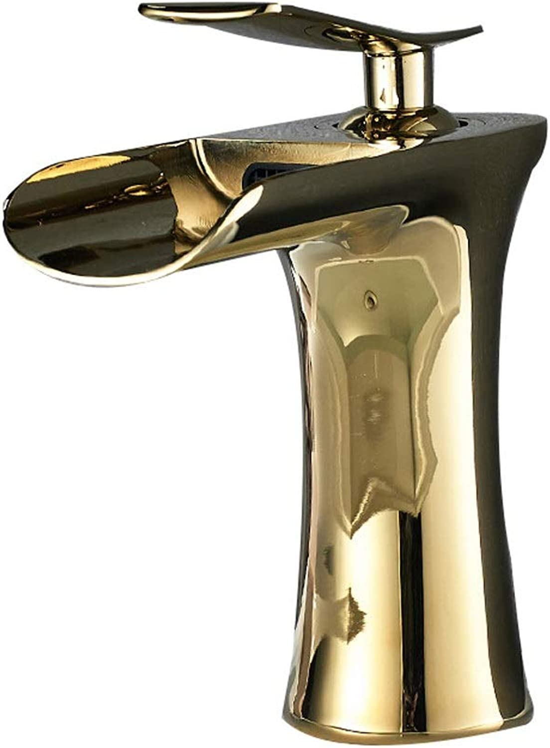 Fanxu Bathroom Sink Faucet, All-Copper Waterfall Single-Hole Mixing Faucet (3 colors, 2 Styles) (color   goldB)