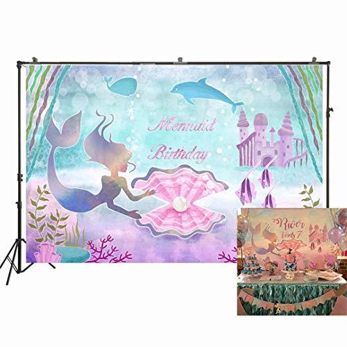 NIVIUS PHOTO Fondo de fiesta de cumpleaños de sirena para fotografía bajo el mar con diseño de ballena y perlas, fondo de fotos para niñas, color morado