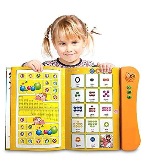 ZeenKind Interactive Spanish English Learning Sound Book for Kids | Bilingual Audio Book with Alphabet ABC, Numbers, Animals, Word for Children, Baby.