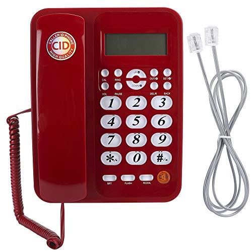 Plyisty Teléfono Fijo con Cable con Sistema FSK/DTMF Dual, Pantalla LCD de 16 dígitos, Pantalla retroiluminada, Pantalla de Fecha/Semana en Tiempo Real para el hogar y la Oficina