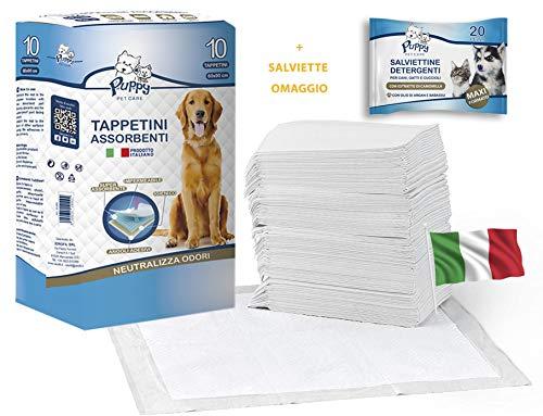 cubex professional® Tappetini traversine igienici assorbenti per Animali Domestici con Adesivo ed Anti Odore + in Omaggio SALVIETTE DETERGENTI per Animali. per Cani e Gatti (50, 60x90)