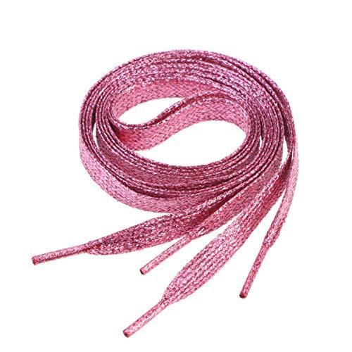 Garneck 1. Lacci Piatti 1 M Lacci per Scarpe Colorati Glitterati Lacci per Scarpe Sneakers per Scarpe da Ginnastica Scarpe di Tela Scarpe Sportive Rosa