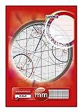 LANDRE 100050441 Millimeter-Block A4 80 g/m² Millimeter-Papier 25 Blatt Kopfgeleimt Linienfabe rot Rasterpapier Geometrie