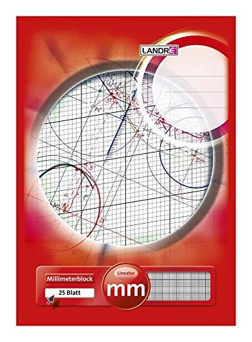 LANDRÉ, blocco di carta millimetrata, in formato A3, 80 g/m², 20 fogli incollati sulla sommità A4 1 pezzo