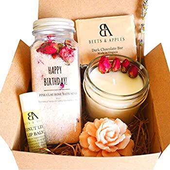 Happy Birthday Gift Basket Gift Baskets for Women Gifts for Women Birthday Gift Ideas for Women Natural Spa Gift Basket for Birthday Gifts Handmade in USA
