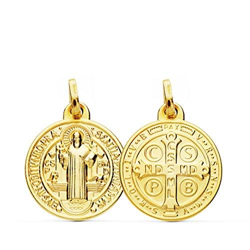 Colgante Medalla San Benito Monje Oro Amarillo 18 Kilates 16mm
