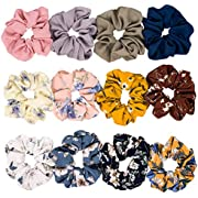 Whaline 12 Pack Chiffon Hair Scrunchies Large Hair Bow Elastic Hair Bands Ponytail Holder for Women and Girls