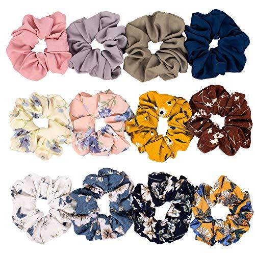 Whaline Scrunchies Chiffon Set, Bunte Haargummis Elastische Haarbänder Gummibänder für Frauen Mädchen Pferdeschwanz Haarschmuck,12 Stück