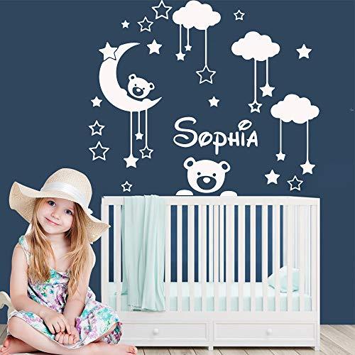 TYLPK Benutzerdefinierte Name Baby Mond Bär Vinyl Aufkleber personalisierte Wandtattoos für Kinderzimmer Dekoration Babys Zimmer Schlafzimmer Dekor Tapete