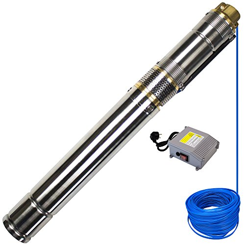 AWM AM-3STP-550-30 3' Tiefbrunnenpumpe 550 Watt Screw Schraubenpumpe sandverträglich, 30m Flachkabel, max. 10 bar, Förderhöhe 100m, Fördermenge 1,8 m³/h