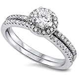 Oxford Diamond Co 1CT Round Cubic Zirconia Wedding Set .925 Sterling Silver Ring Size 7