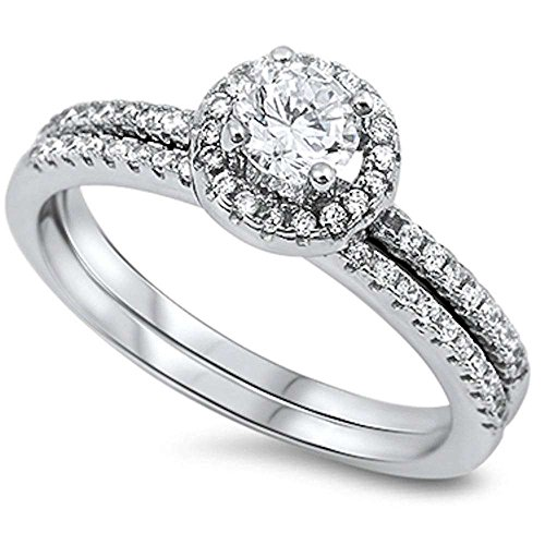 Oxford Diamond Co 1CT Round Cubic Zirconia Wedding Set .925 Sterling Silver Ring Size 8
