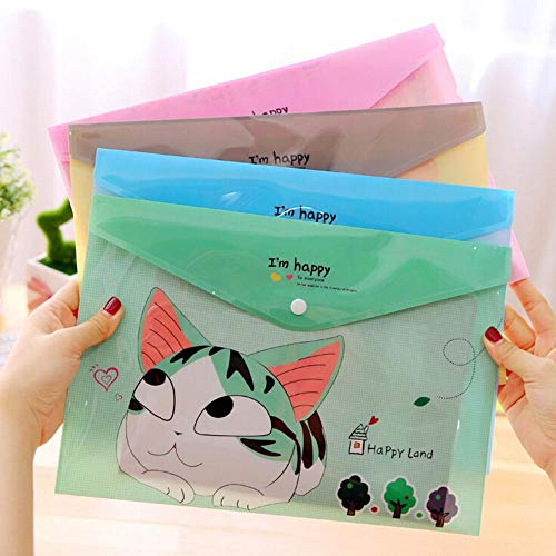 HJCWL 4 Stks Leuke Kaas Kat PVC A4 Bestand Folder Document Filing Tas briefpapier Gift