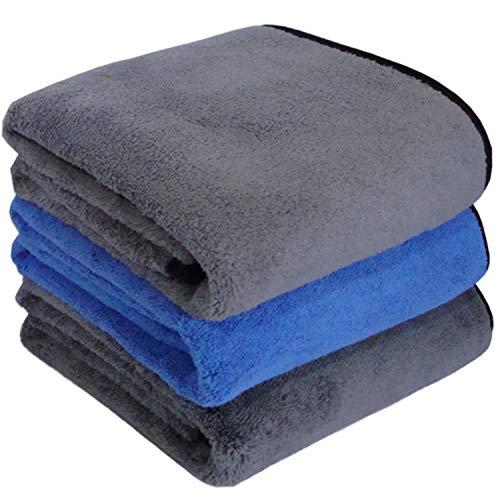 Toalla Secado Coche,3 Pcs Paño Microfibra Coche 800GSM,Paño de Limpieza de Coches,Toalla Super Absorbente,Paños Limpieza Cocina,Bayeta de Limpieza Paños Toalla para Coche Moto Bici-Gris Azul(30*60CM)