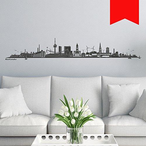 WANDKINGS Wandtattoo - Skyline Karlsruhe (ohne Fluss) - 100 x 16 cm - Hellrot - Wähle aus 6 Größen und 35 Farben