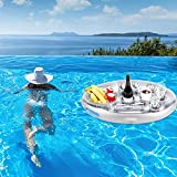 FUFRE Soporte hinchable para bebidas flotantes para piscina, posavasos de PVC, soporte para latas, soporte para botellas con 8 soportes, flotante para piscina (mango azul)