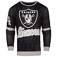 Forever Collectibles NFL Mens Retired Player Ugly Sweater, Bo Jackson Los Angeles Raiders