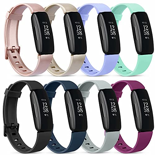 [8 Pack] Silicone Bands Compatible with Fitbit Inspire 2 & Fitbit Inspire HR & Fitbit Inspire & Fitbit Ace 2, Replacement Sport Adjustable Soft Wristbands Accessories for Women Men (8 Pack B, Small)