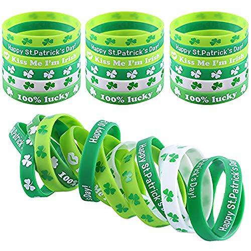 DesignerBox 36 pulseras de trébol irlandés de silicona para Día de San Patricio, pulseras de trébol de goma verde para fiestas temáticas de San Patricio (36 unidades)