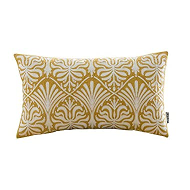 HWY 50 Yellow Throw Pillows Covers for Couch Sofa Bed 12 x 20 inch, 1 PC Cotton Embroidered Decorative Throw Pillow Cases, European Flowers Lumbar Long Pillowcases