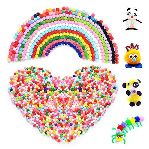 HellDoler Pompons,1000 Stücke 15mm Crafts Pom Poms Bunte Bastle Pom Poms Bälle für Hobbybedarf und Kunsthandwerkliche Dekorationen