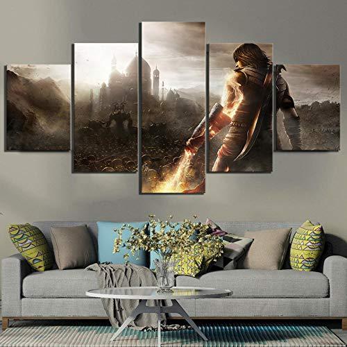 YQRX 5 Piezas HD Imagen De Arte De Fantasía Prince of Persia The Forgotten Sands Póster De Videojuego Pinturas En Lienzo para La Decoración De La Pared del Hogar/Cuadro/150x80CM