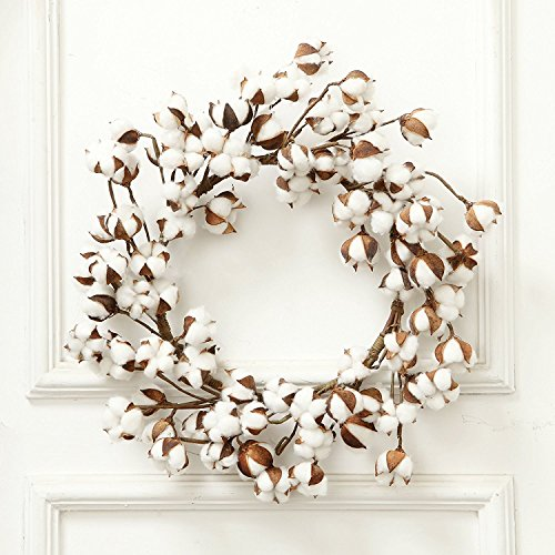 LBZE Real Cotton Wreath,Made from Real Natural White Cotton Flowers Bolls,Artificial Cotton Boll Wreath for Indoor Home Decor,12-24inch