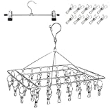 DUOFIRE Clothes Drying Rack with 36 Clips, Stainless Steel Laundry Drying Rack, Baby Hangers, Clothes Hangers for Drying Socks, Drying Towels, Diapers, Bras, Baby Clothes, Underwear, Hat(1 Pack)