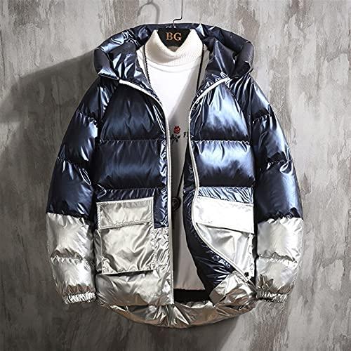 2021 Chaqueta de invierno Hombres Casual Cálido Cosquillado Abrigos con capucha Para hombre Outwear Outweeker Cortavientos Thicken Parkas Hombres Ropa ( Color : Azul , Size : Chinese Size M )