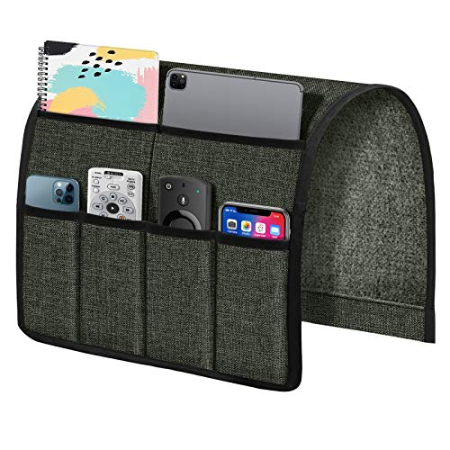 Joywell Sofa Armrest Organizer, Non-Slip Linen Armchair Caddy Portable TV Remote Control Holder Bedside Caddy Leather Recliner Couch Pocket Organizer for Phone Magazine Glasses ipad, Dark Gray