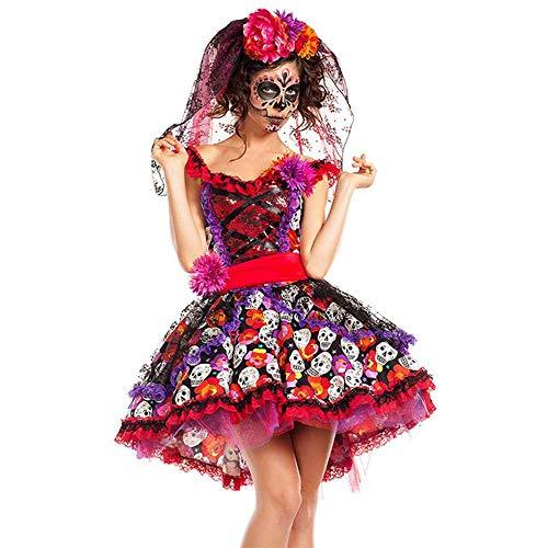 Mexikanischer Tag der Toten Horror Zombie Skull Kostüm Halloween Karneval Party Blume Fee Ghosts Braut Cosplay Kleid Gr. 80, Schwarz