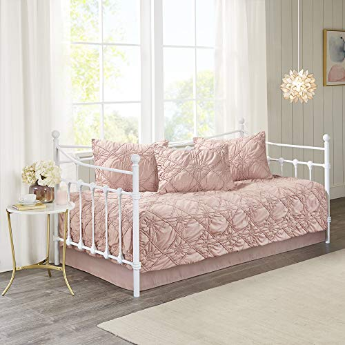 Madison Park Theresa 5 Piece Daybed Luxe Ruched Chambray Woven Cover in Rosette Diamond Design Modern Glam Shabby Chic All Season Bedding Set,...