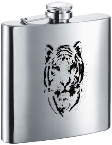 """Visol """"Tiger"""" Stainless Steel Hip Flask, 6-Ounce, Satin Finish, Chrome"""