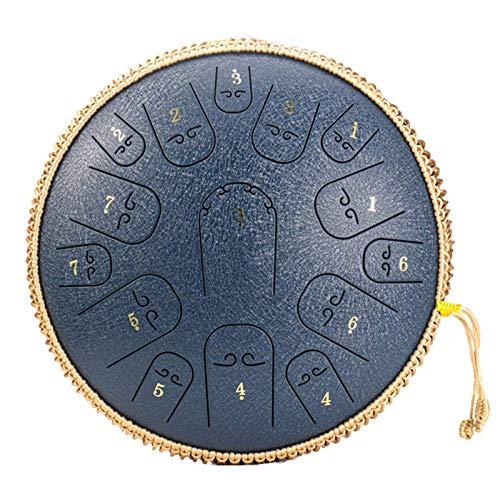 LFLYBCX Stahlzungentrommel 14 Zoll, 15 Noten Hang Drum Instrument Handtrommel Schlaginstrument Mit Drum Carry Bag 2 Drumsticks Tutorial Book 4 Finger Picks,F