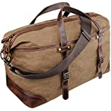 emissary Duffel Bag for Men | Mens Carry On Duffel Bag | Canvas and Leather Overnight Bag | Large Canvas Duffel Bag Men (Brown Weekender Bag)