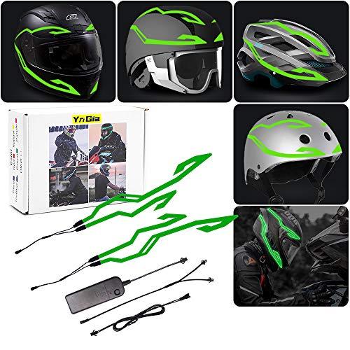 Motorcycle Helmet Light, Night Riding Signal Helmet EL Light, 3 Mode Led Helmet Accessories Light Strip Green