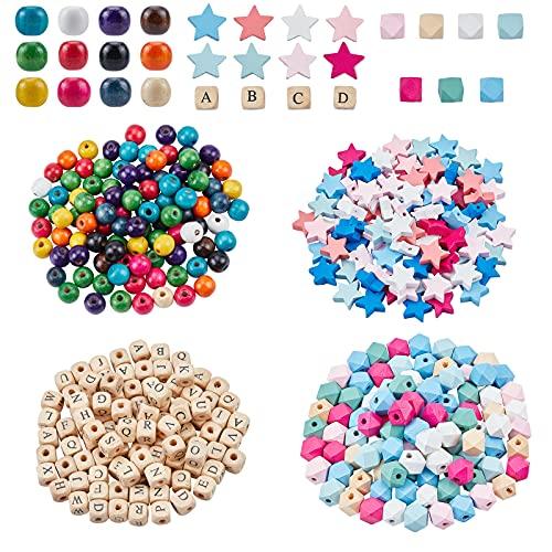 NBEADS 400 cuentas de madera coloridas, cuentas de madera natural teñidas hechas a mano para manualidades y collares y joyas