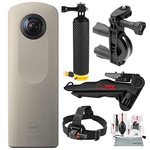 Ricoh Theta SC 360° Spherical Video/Still Camera (Sand) with Bike Handlebar Mount, Floating Hand Grip, Stable Tripod, Xpix Deluxe Camera Lens Cleaning Kit, and Deluxe Bundle