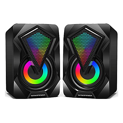 NJSJ Altavoces PC,6W Altavoz PC Gaming,USB 2.0 Sonido Estéreo,Control Integrado, LED RGB Mejorado para Escritorio Móvil,Casa,Viaje,Oficina,Fiesta,Ordenador Portátil,Regalo