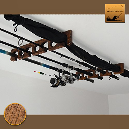 FishingRack.eu Houten hengelhouder/rek - Plafond gemonteerd (Donker eiken)