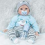 W&HH 55Cm Bebe Reborn Silicona,22 Pulgadas Lifelike Reborn Bebé,Muñeca Bebé Recién Nacido Vistiendo Ropa Azul Muñeca Sonriente Muy Bonito
