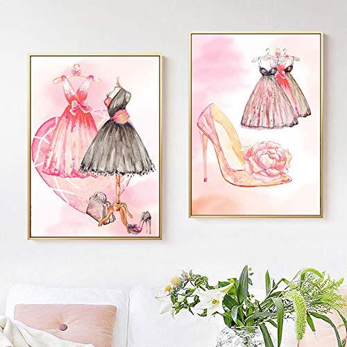 IGZAKER Roze Vrouwen Jurk Hoge Hakken Bloem Nordic Posters En Prints Moderne Muur Canvas Schilderij Muur Foto Voor Woonkamer Decor-50x75cmx2pcs geen frame