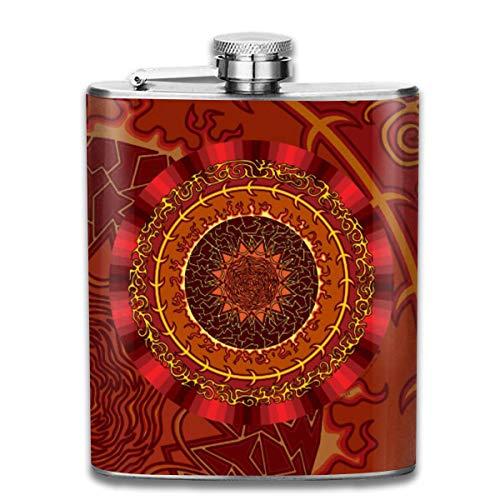 Presock Flachmann,Fire Mandala 7 Oz Printed Stainless Steel Hip Flask for Drinking Liquor E.g. Whiskey, Rum, Scotch, Vodka Rust Great Gift