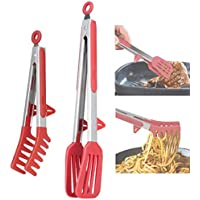 2-Pack Aschef BPA Free Non-Stick Stainless Steel BBQ Grilling Tongs